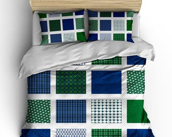 Personalized Custom Bedding Golf Patchwork - available Toddler, Twin, Full/Queen or King Size