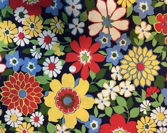 Floral colorful canvas, upholstery weight fabric.