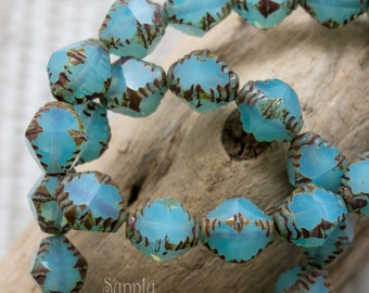 Aqua Opalite Picasso Bicon Beads, 10x8mm Bicone, 3049, 10mm Aqua Opalite Picasso Bicone, 10 Beads