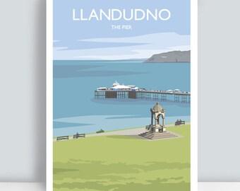 Llandudno, North Wales, The Pier. Travel Art Print/Poster. PLUS FREE POSTAGE!