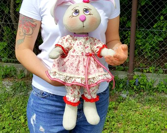 Bunny toy, Handmade Toy, Rabbit Toy, Interior toy, Textile bunny toy