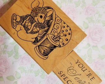 "You're ""Sew"" Special and Mouse In A Sweater, Overalls with a Thimble and Thread - 2 Stamps Wood Mount for Crafting - Code 5"