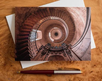 Spiral staircase greetings card