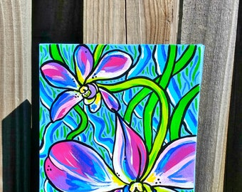 Purple Orchids on canvas