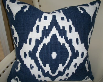 Shirvan true Blue heavy Cotton textured ikat accent pillow. 23 x 23  Down feather insert included. Free shipping.