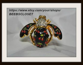 Joan Rivers Cherry Bee Pin Vintage Joan Rivers Honey Bee Pin Brooch Black Cherry Red Cherries