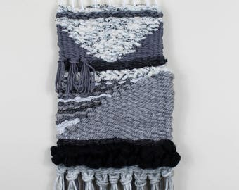 Black and Gray Woven Wall Hanging