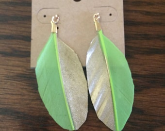 Feather earrings, gorgeous gold-dipped threaders, gold earring