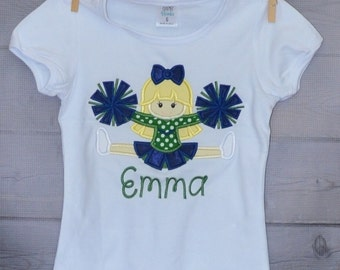 Personalized Football Cheerleader Applique Shirt or Onesie
