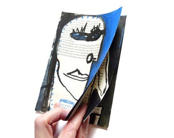 UNIQUE art zine, ORIGINAL drawing on recycled pocket book page, cartoon art