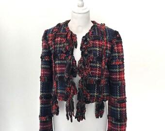 MOSCHINO vintage cropped tartan jacket/blazer - Cheap and Chic 1993-1994 Plaid Wool Jacket
