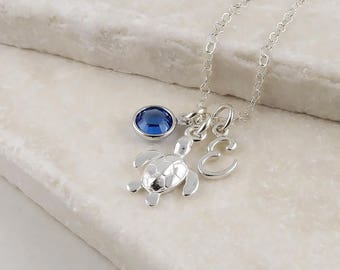 Personalized Silver Turtle Necklace  - Sterling Silver Sea Turtle, Birthstone and Initial Necklace, Tortoise jewelery