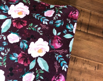 Maroon Floral Changing Pad cover, Floral changing pad cover, greenery, boho baby, baby girl, changing pad cover, baby girl bedding, floral