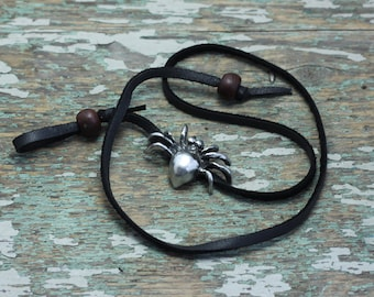 Spider deer hide wrist wrap and necklace/choker with wooden beads
