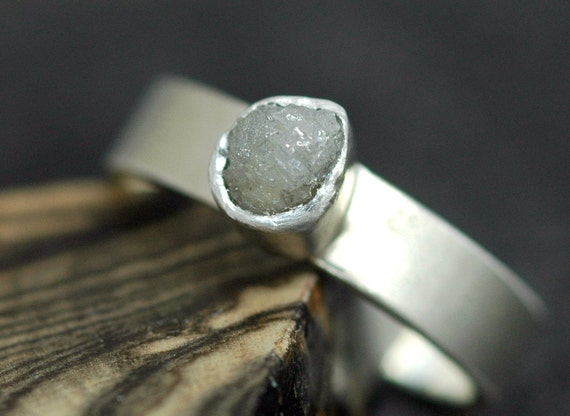 Rough Diamond Ring in Sterling Silver