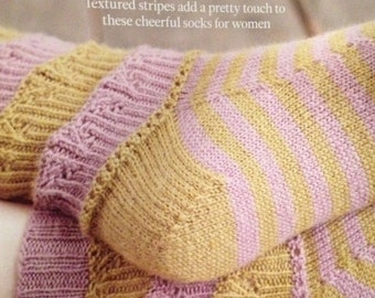 Ladies Knitted Striped Textured Socks Knitting Pattern