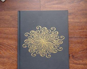 Black and gold mandala sketchbook