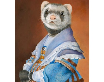 Ferret, Ferret Portrait, Canvas Prints, Ferret Art, Ferret Wall Art, Ferret in a Blue Dress