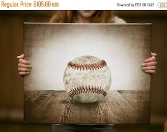 FLASH SALE til MIDNIGHT Vintage Single Baseball Photo print on 16x20 Canvas Ready to Hang Wall Decor, Wall Art,  Kids Room, Nursery Ideas