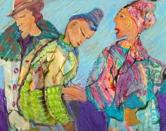 Sacred Promise, feminine relationships, connection, love. Colorful fabrics. http://www.judithbirdart.com/