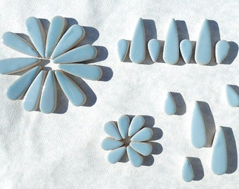 "Light Blue Teardrop Mosaic Tiles - 50g Ceramic Drops in Mix of 2 Sizes 1/2"" and 3/5"" in Azure"