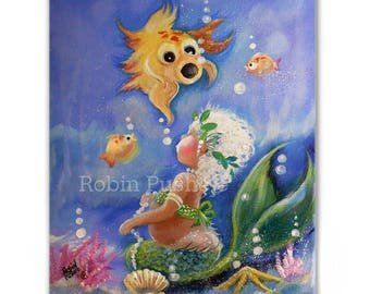 Toddler Mermaid and Wide mouthed Fish..Original Painting