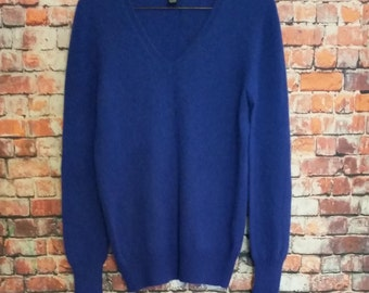 90's Only Mine 100% Cashmere Sweater, Navy Blue, V-Neck,Size S