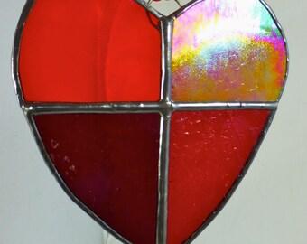 Stained Glass Red Valentine Love Heart Sun Catcher Light Catcher