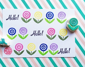 hello & flower rubber stamps | woodland stamp | card making | diy gift wrapping | snail mails | hand carved by talktothesun | set of 2
