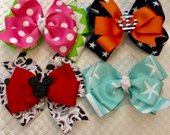 Discounted Hair Bow Bundle  Summer Bows Summer Bow Bundle Minnie Mouse BOw Nautical Bow Preppy Bow Beachy Bow Pink and Green Bow