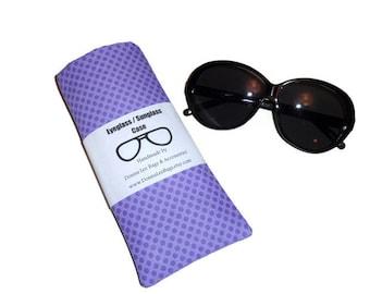 Sunglass Eyeglass Case, Purple Fabric Sunglass Eyeglass Holder, Purple Polka Dot Eyeglass Sunglass Case, Gift for Teens and Women
