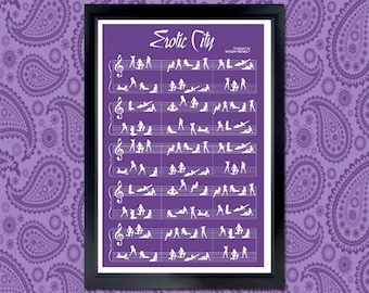 Erotic City Poster - purple, prince, music sheet, tribute, wall art, music poster