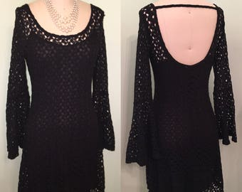 Black Lace Dress 90s does 60s 70s Goth GoGo Hippie Festival Bell Sleeve Mini Love Witch Size S Small