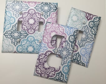 Turquoise,Purple,Blue Damask,Medallion, bedroom, bath,light plate cover,light switch plate, outlet cover, outlet plate, home decor, wall art