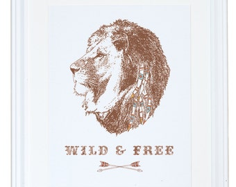 Wild and Free, Lion Art, Watercolor Painting, Meera Lee Patel