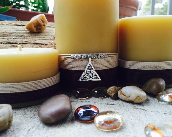 """100% Pure Beeswax Pillar Candle Gift Set """"charmed"""" with a Celtic Knot"""