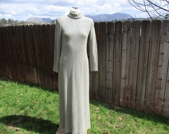 70's Ladies 'Silver and Gold Metallic' Long Sleeve, High Collar, 'Miss Elliette' Maxi Dress