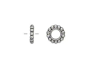 Silver Rondelle, Antiqued Silver Spacer Bead, 4.5mm Threading Hole, 9x2mm, 10 each, D858
