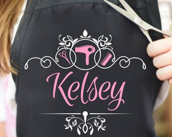 hair stylist apron, gift for hairdresser, beauty salon, personalized hairstylist apron, cosmetologist, custom barber apron