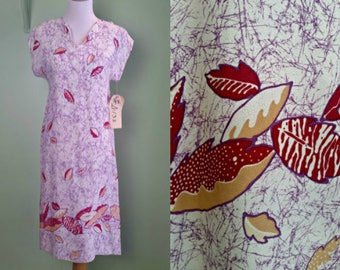 1970s Tropical Shift Dress - Cruise Wear - XS / Small - NOS
