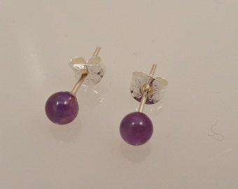 Amethyst Gemballs on Sterling Silver Posts