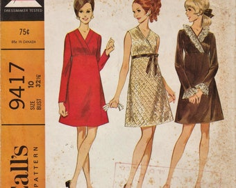 McCalls 9417 / Vintage 60s Sewing Pattern / Maternity Dress / Size 10