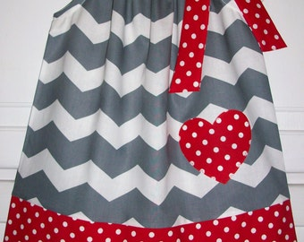 Valentines Day Dress Pillowcase Dress Sweetheart Chevron Dress Grey with Red Heart Girls Dress baby dress toddler dress Valentines Clothes