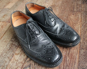 1980 vintage in pelle Van Lier nero Brogue scarpe per gli uomini / EU Taglia: 41 / US-Canada size 7.5 / UK size 7