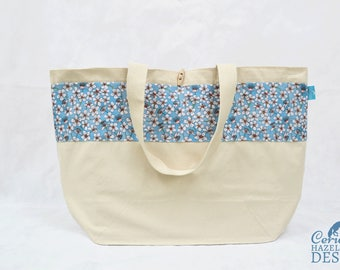 Cherry Blossom Large Tote Bag, Blue Floral Canvas Tote, Reusable Shopper Bag, Shopping Bag, Eco Tote Bag, Reusable Grocery Bag