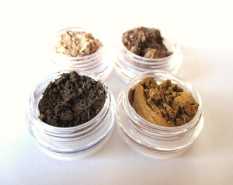 EYECANDY 4 Color Coordinated Sample Size Mineral Eyeshadows: GOLDEN EARTH