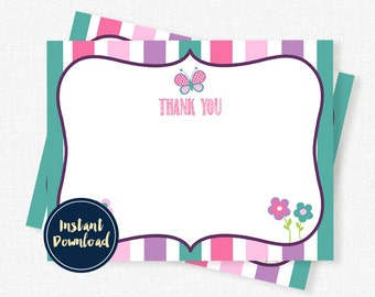 Butterfly Thank You Cards, Girl Thank You Notes, Birthday Thank You, Blank Thank You, Printable INSTANT DOWNLOAD