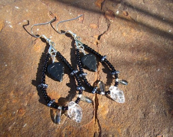 Loop Earrings~Jablonex Czech Pressed Glass~Leaves~Black and Silver~Dark Forest~Set #3