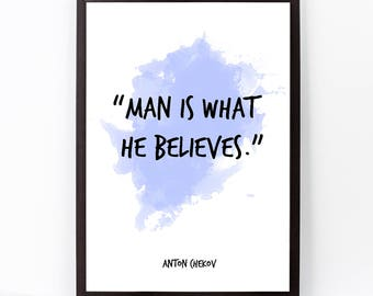 Anton Chekov, Anton Chekov quote, Anton Chekov Art, Anton Chekov Watercolor Quote Poster, Wall art quote, Motivational, Inspirational quote,