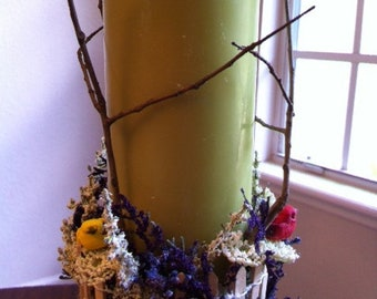 Garden Pillar Candle With Wildflowers And Birds